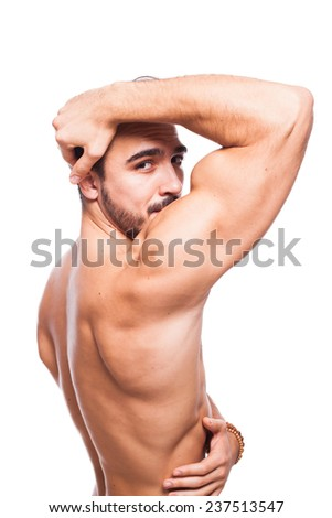 handsome man white muscle on shite background - stock photo