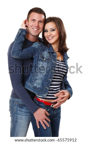 handsome man with a beautiful young woman - stock photo