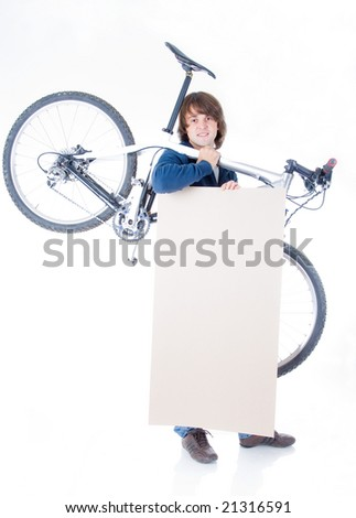 Handsome man with bicycle and space for your text, isolated on white background - stock photo