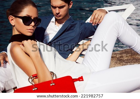 Handsome man with girl - stock photo