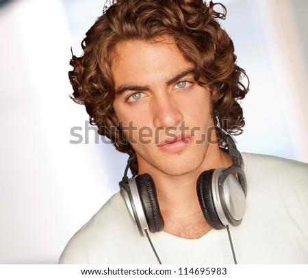 Handsome Man With Headphones, Selective Focus - stock photo