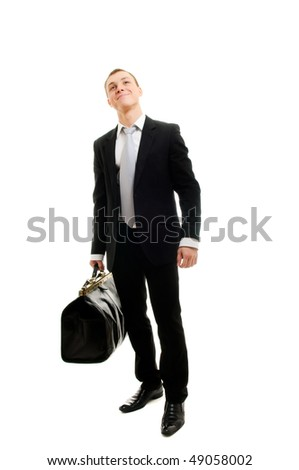 Handsome man with travelling bag. Isolated over white. - stock photo