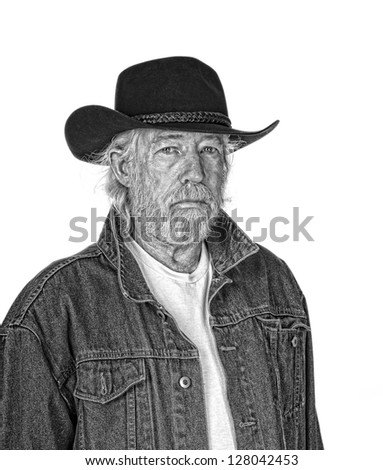 Handsome mature man wearing a black cowboy hat and a jeans jacket isolated on white - stock photo