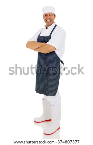 handsome mid age male butcher arms crossed isolated on white - stock photo