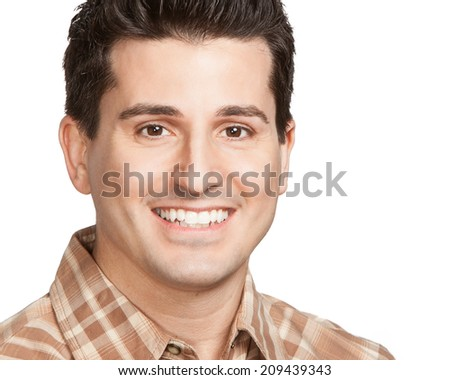 Handsome multi ethnic man smiling at camera closeup headshot  - stock photo