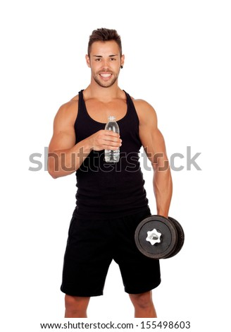Handsome muscled man drinking water isolated on a white background - stock photo