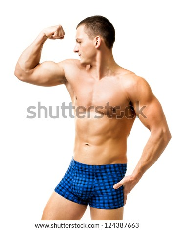 Handsome muscular man isolated on white - stock photo
