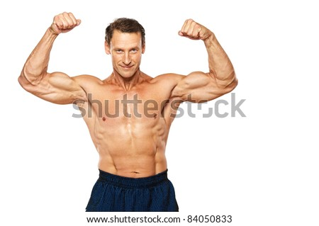 Handsome muscular man isolated on white. - stock photo