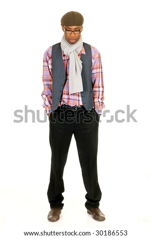 Handsome pensive African American male leisure clothing, studio shot, white background - stock photo