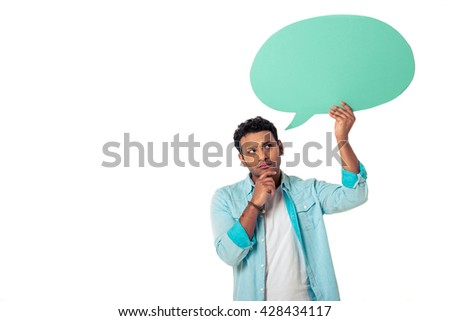 Handsome pensive young Afro American is holding speech bubble, looking away and thinking, isolated on white background - stock photo