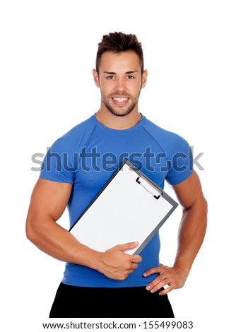 Handsome personal trainer with a clipboard isolated on a white background - stock photo