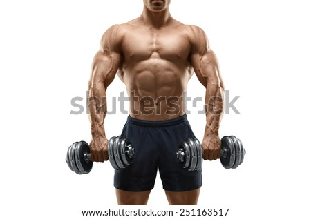 Handsome power athletic man bodybuilder doing exercises with dumbbell. Fitness muscular body isolated on white background. - stock photo
