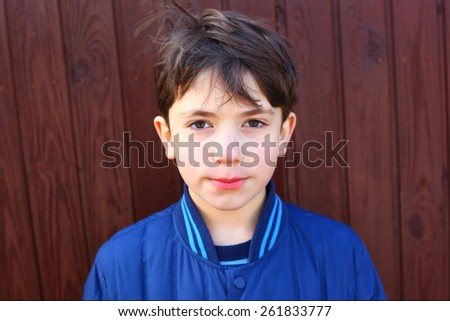 handsome preteen boy expressive portrait - stock photo