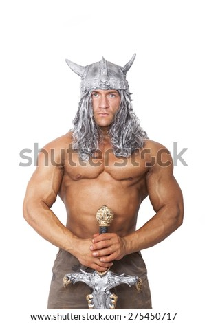 Handsome sexy muscular medieval strong warrior with sword isolated on white background. - stock photo
