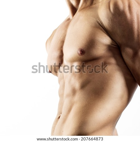 Handsome shirtless young man - stock photo