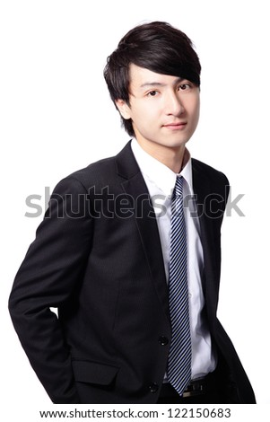 handsome smile executive business man in suit posing isolated on white background, asian male model - stock photo