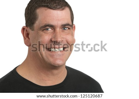 Handsome smiling adult man closeup portrait on white background - stock photo