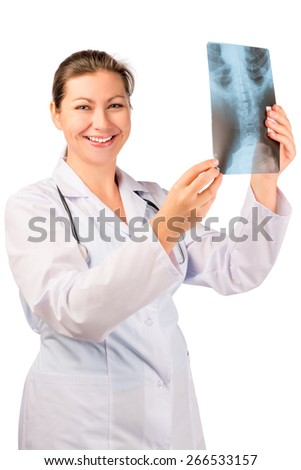 handsome smiling doctor with x-ray in hands - stock photo