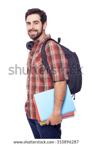 Handsome smiling student on white background - stock photo