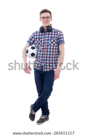 handsome teenage boy posing with soccer ball isolated on white background - stock photo