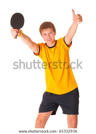 Handsome teenage in yellow T-shirt playing ping pong - stock photo
