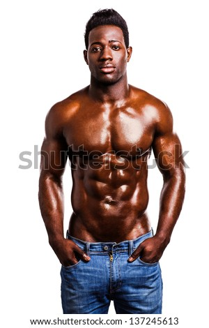 Handsome wet african muscular man isolated over white background. - stock photo