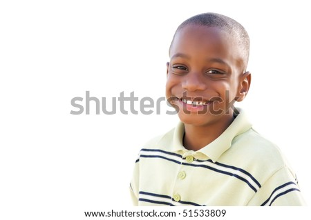 Handsome Young African American Boy Isolated on a White Background. - stock photo