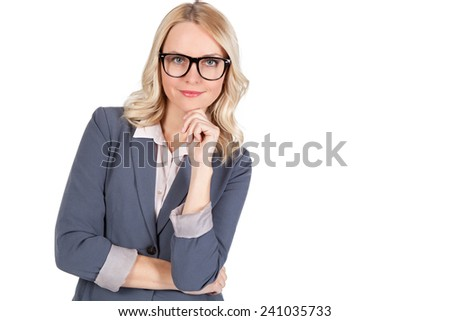 Handsome young blond woman with black glasses - stock photo
