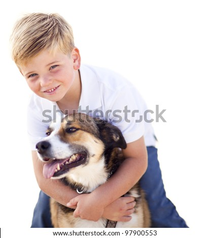 Handsome Young Boy Playing with His Dog Isolated on a White Background. - stock photo