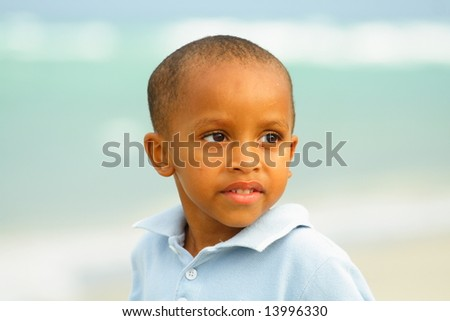 Handsome Young Boy Posing for the Camera - stock photo
