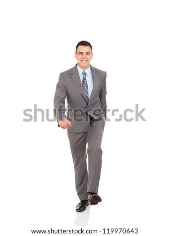 Handsome young business man go walk making step up happy smile, businessman wear elegant gray suit and tie full length portrait isolated over white background - stock photo