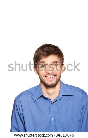 Handsome young business man happy smile laughing, isolated over white background. series of portrait photos. - stock photo