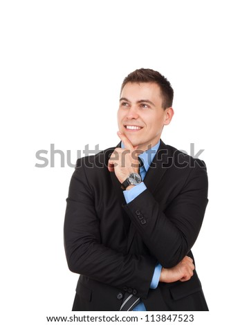 Handsome young business man happy smile look up to empty copy space, businessman think, idea, hold hand finger on chin wear elegant suit and tie isolated over white background - stock photo