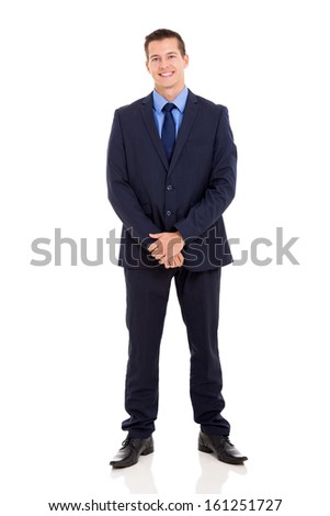 handsome young businessman in a suit on white background - stock photo