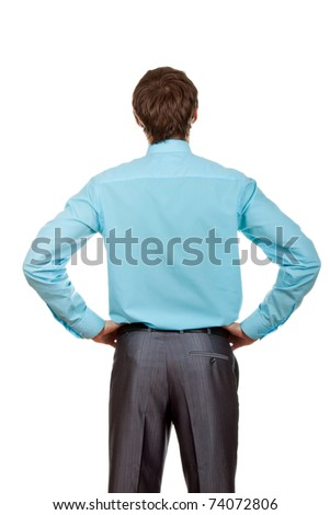 Handsome young businessman isolated over white background, standing and thinking - stock photo