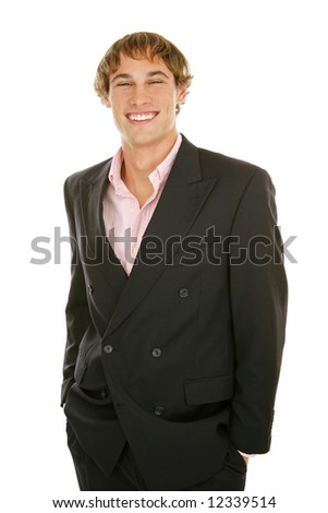 Handsome young businessman with big happy grin.  Isolated on white. - stock photo