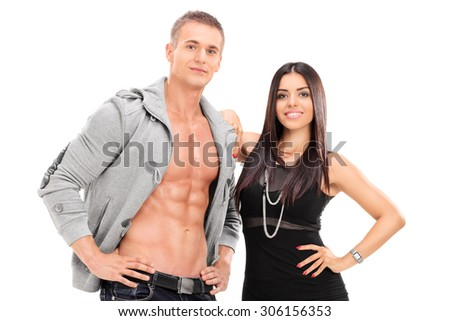 Handsome young couple posing isolated on white background - stock photo