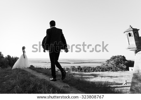 Handsome young groom walking to beautiful stylish bride in the field with sky background b&w - stock photo