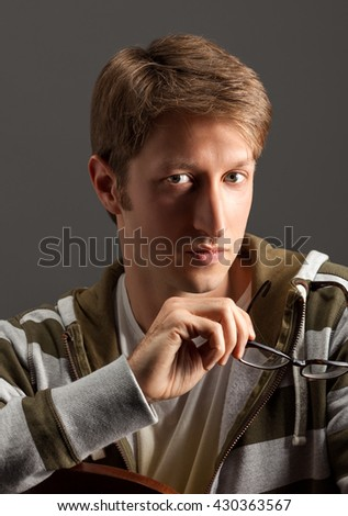 handsome young guy portrait - stock photo