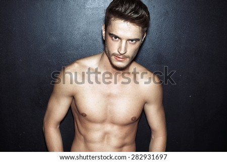 Handsome young male model - stock photo