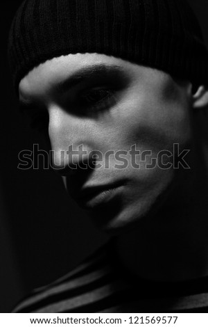 handsome young man,  black and white portrait :) - stock photo