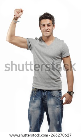 Handsome young man cheering - stock photo