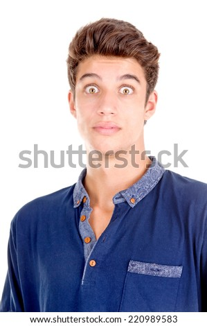 handsome young man doing facial expressions isolated in white - stock photo