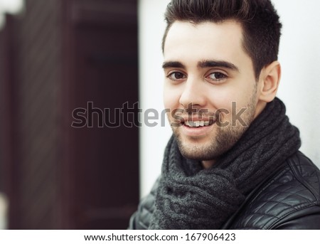 Handsome young man face - close up  - stock photo