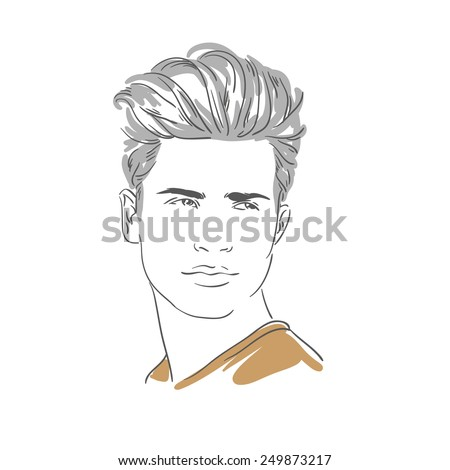 Handsome young man hand drawn illustration - stock photo