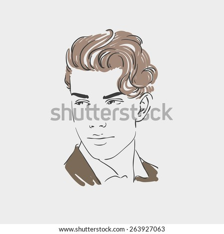 Handsome young man  illustration. Rasterized copy - stock photo