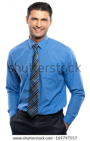 Handsome young man in blue shirt and tie isolated on white background  - stock photo