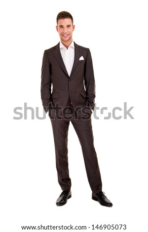 Handsome young man in classic suit - stock photo