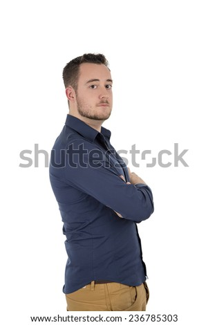 Handsome young man looking against a white background - stock photo