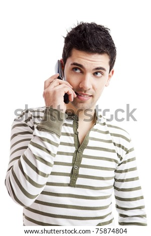 Handsome young man making a phone call, isolated on white background - stock photo